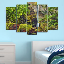 Landscape, Nature, Water, Waterfall, Forest, Rocks » Green, Brown, Black, Dark grey