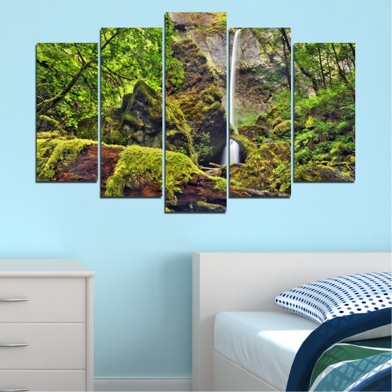 Canvas prints & wall decorative panels - 5 pieces №0291 » Green, Brown, Black, Dark grey » Water, Nature, Landscape, Waterfall, Forest, Rocks Form #1