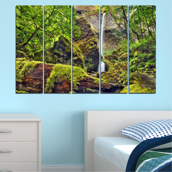 Canvas prints & wall decorative panels - 5 pieces №0291 » Green, Brown, Black, Dark grey » Water, Nature, Landscape, Waterfall, Forest, Rocks Form #2