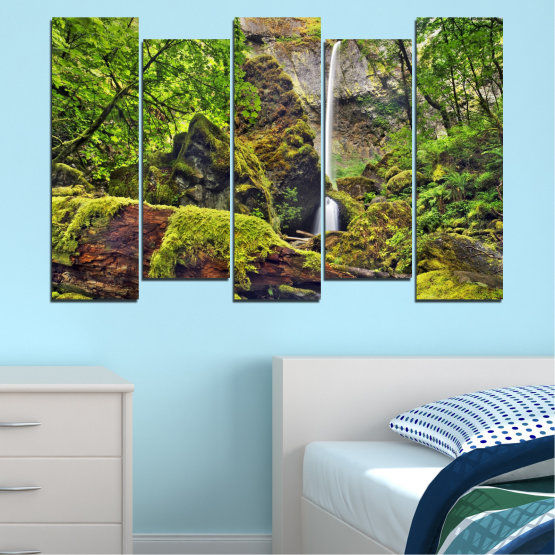 Canvas prints & wall decorative panels - 5 pieces №0291 » Green, Brown, Black, Dark grey » Water, Nature, Landscape, Waterfall, Forest, Rocks Form #3