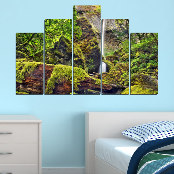 Canvas prints & wall decorative panels - 5 pieces №0291 » Green, Brown, Black, Dark grey » Water, Nature, Landscape, Waterfall, Forest, Rocks Form #5