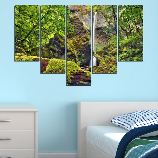 Canvas prints & wall decorative panels - 5 pieces №0291 » Green, Brown, Black, Dark grey » Water, Nature, Landscape, Waterfall, Forest, Rocks Form #6
