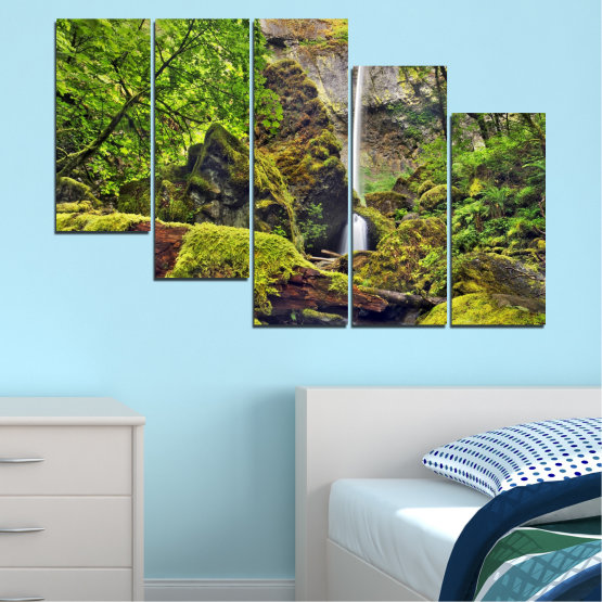 Canvas prints & wall decorative panels - 5 pieces №0291 » Green, Brown, Black, Dark grey » Water, Nature, Landscape, Waterfall, Forest, Rocks Form #7