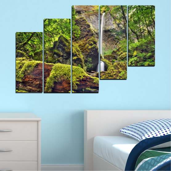 Canvas prints & wall decorative panels - 5 pieces №0291 » Green, Brown, Black, Dark grey » Water, Nature, Landscape, Waterfall, Forest, Rocks Form #8