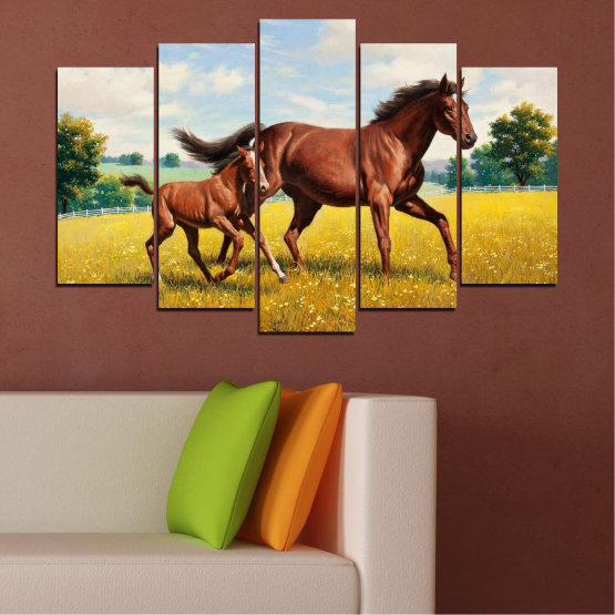 Canvas prints & wall decorative panels - 5 pieces №0292 » Green, Brown, Gray, Beige » Animal, Drawing, Horse Form #1