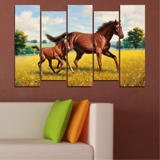 Canvas prints & wall decorative panels - 5 pieces №0292 » Green, Brown, Gray, Beige » Animal, Drawing, Horse Form #3