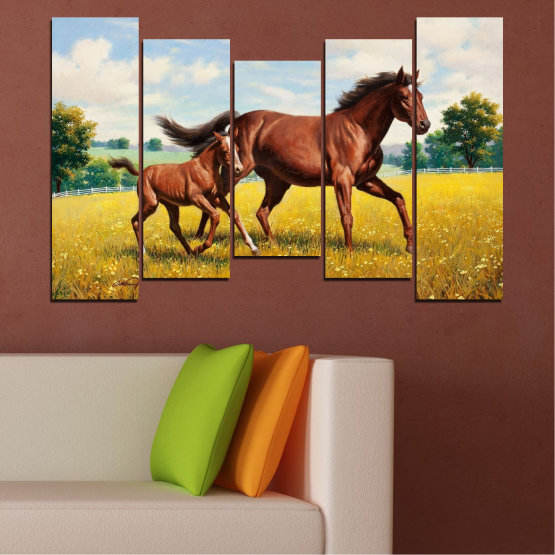 Canvas prints & wall decorative panels - 5 pieces №0292 » Green, Brown, Gray, Beige » Animal, Drawing, Horse Form #4