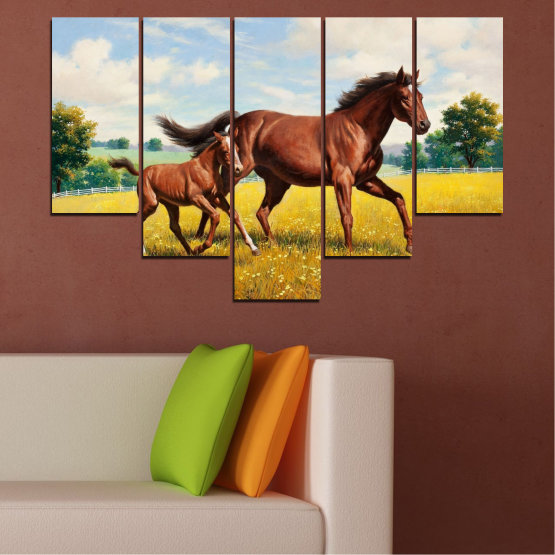 Canvas prints & wall decorative panels - 5 pieces №0292 » Green, Brown, Gray, Beige » Animal, Drawing, Horse Form #6