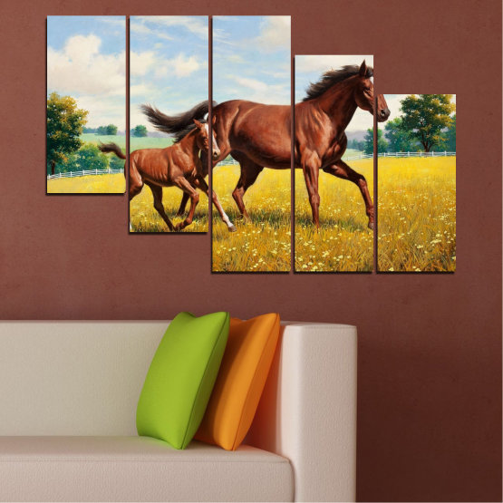 Canvas prints & wall decorative panels - 5 pieces №0292 » Green, Brown, Gray, Beige » Animal, Drawing, Horse Form #7