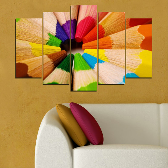 Canvas prints & wall decorative panels - 5 pieces №0293 » Green, Yellow, Orange, Black, Beige » Colorful, Bright, Pencils Form #1