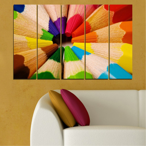 Canvas prints & wall decorative panels - 5 pieces №0293 » Green, Yellow, Orange, Black, Beige » Colorful, Bright, Pencils Form #2