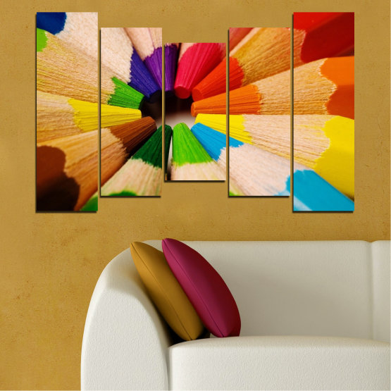 Canvas prints & wall decorative panels - 5 pieces №0293 » Green, Yellow, Orange, Black, Beige » Colorful, Bright, Pencils Form #4