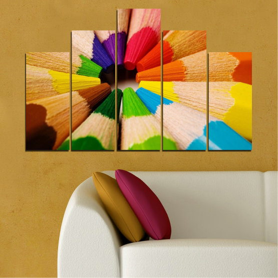 Canvas prints & wall decorative panels - 5 pieces №0293 » Green, Yellow, Orange, Black, Beige » Colorful, Bright, Pencils Form #5