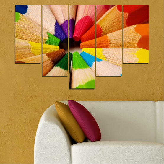 Canvas prints & wall decorative panels - 5 pieces №0293 » Green, Yellow, Orange, Black, Beige » Colorful, Bright, Pencils Form #6