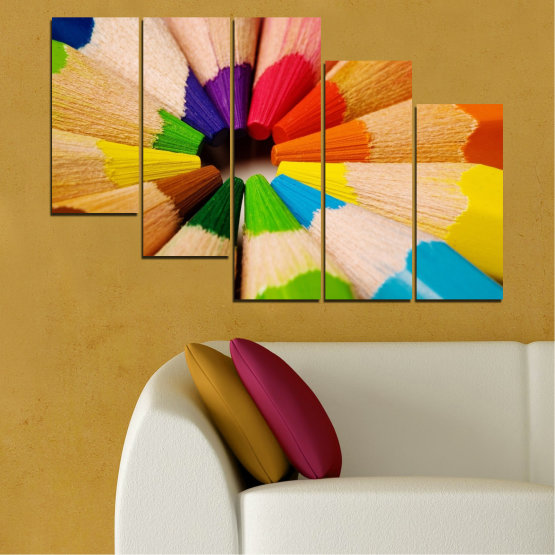 Canvas prints & wall decorative panels - 5 pieces №0293 » Green, Yellow, Orange, Black, Beige » Colorful, Bright, Pencils Form #7