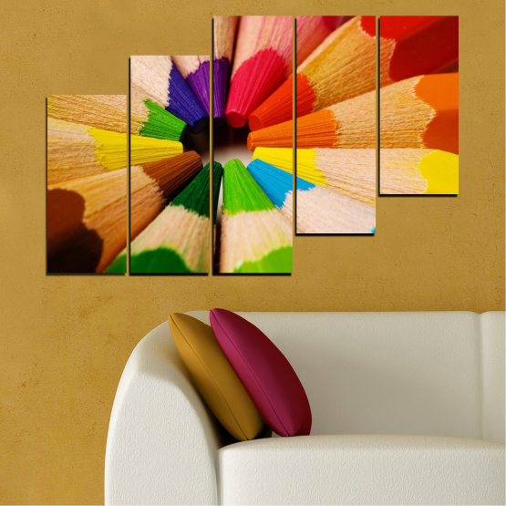 Canvas prints & wall decorative panels - 5 pieces №0293 » Green, Yellow, Orange, Black, Beige » Colorful, Bright, Pencils Form #8