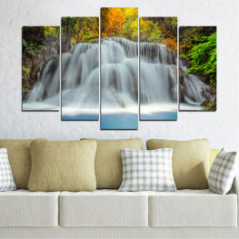 Water, Nature, Landscape, Waterfall, Autumn » Black, Gray, Dark grey