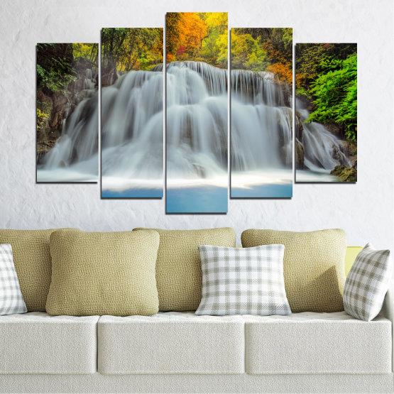 Декоративни панели и картини от канава - от 5 части №0294 » Черен, Сив, Тъмно сив » Природа, Вода, Пейзаж, Водопад, Есен Form #1