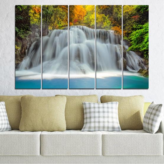 Декоративни панели и картини от канава - от 5 части №0294 » Черен, Сив, Тъмно сив » Природа, Пейзаж, Вода, Водопад, Есен Form #2