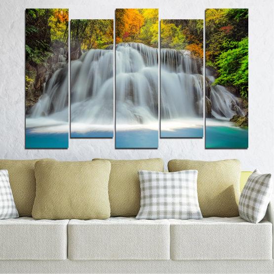 Декоративни панели и картини от канава - от 5 части №0294 » Черен, Сив, Тъмно сив » Природа, Пейзаж, Вода, Водопад, Есен Form #3