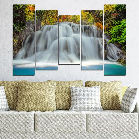 Декоративни панели и картини от канава - от 5 части №0294 » Черен, Сив, Тъмно сив » Природа, Пейзаж, Вода, Водопад, Есен Form #4