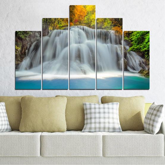 Декоративни панели и картини от канава - от 5 части №0294 » Черен, Сив, Тъмно сив » Природа, Пейзаж, Вода, Водопад, Есен Form #5