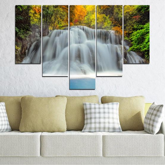 Декоративни панели и картини от канава - от 5 части №0294 » Черен, Сив, Тъмно сив » Природа, Вода, Пейзаж, Водопад, Есен Form #6