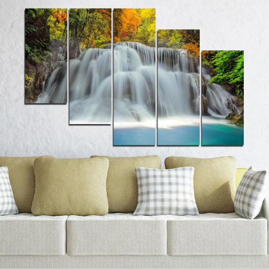 Декоративни панели и картини от канава - от 5 части №0294 » Черен, Сив, Тъмно сив » Природа, Вода, Пейзаж, Водопад, Есен Form #7