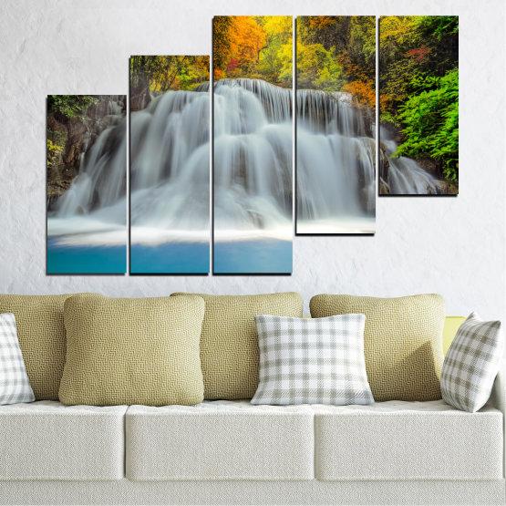 Декоративни панели и картини от канава - от 5 части №0294 » Черен, Сив, Тъмно сив » Природа, Вода, Пейзаж, Водопад, Есен Form #8