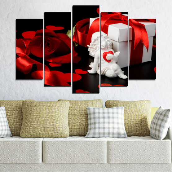 Canvas prints & wall decorative panels - 5 pieces №0296 » Red, Black, Gray » Collage, Heart, Cupid Form #1