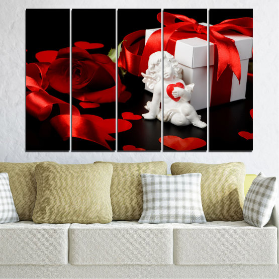 Canvas prints & wall decorative panels - 5 pieces №0296 » Red, Black, Gray » Collage, Heart, Cupid Form #2