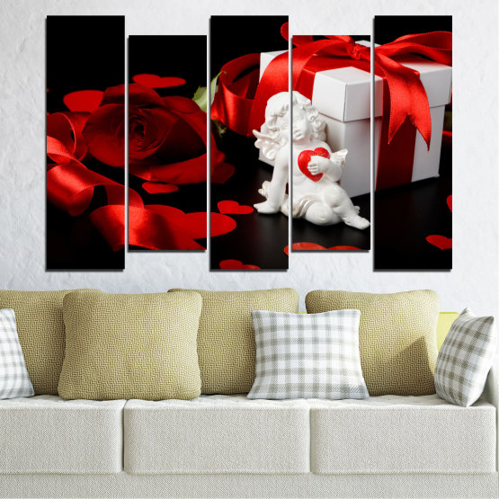 Canvas prints & wall decorative panels - 5 pieces №0296 » Red, Black, Gray » Collage, Heart, Cupid Form #3