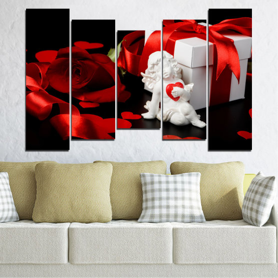 Canvas prints & wall decorative panels - 5 pieces №0296 » Red, Black, Gray » Collage, Heart, Cupid Form #4