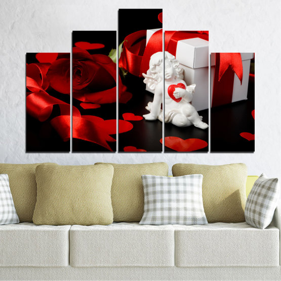 Canvas prints & wall decorative panels - 5 pieces №0296 » Red, Black, Gray » Collage, Heart, Cupid Form #5