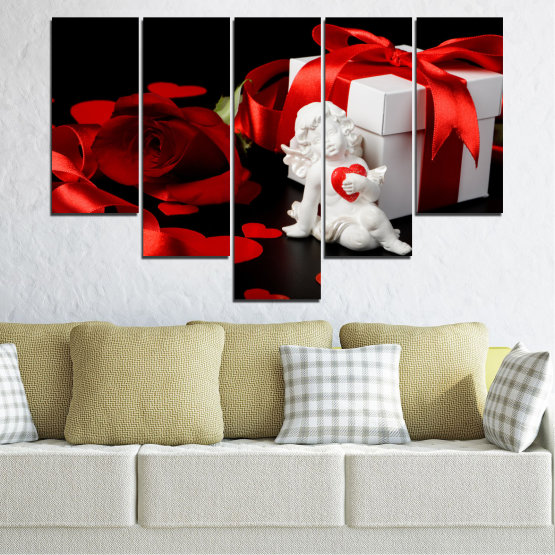 Canvas prints & wall decorative panels - 5 pieces №0296 » Red, Black, Gray » Collage, Heart, Cupid Form #6