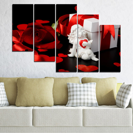 Canvas prints & wall decorative panels - 5 pieces №0296 » Red, Black, Gray » Collage, Heart, Cupid Form #7