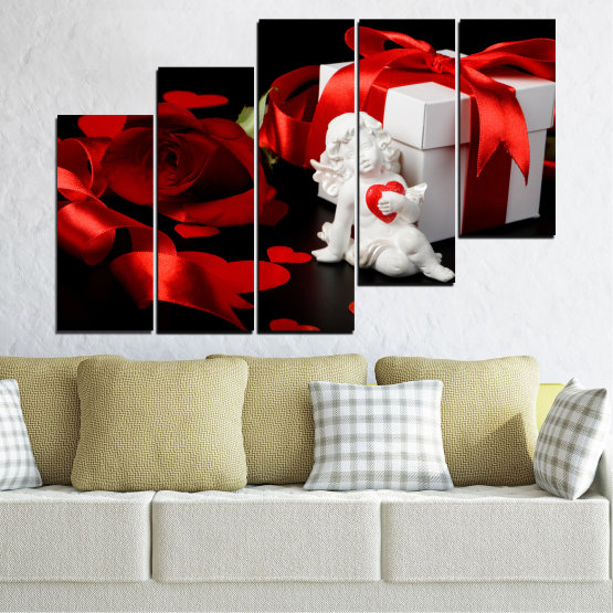 Canvas prints & wall decorative panels - 5 pieces №0296 » Red, Black, Gray » Collage, Heart, Cupid Form #8