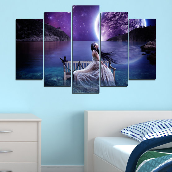 Canvas prints & wall decorative panels - 5 pieces №0297 » Purple, Blue, Black, Gray, Dark grey » Water, Woman, Night, Moon Form #1