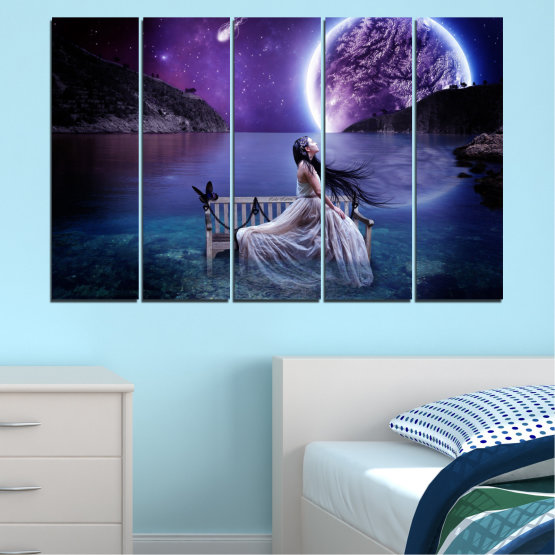 Canvas prints & wall decorative panels - 5 pieces №0297 » Purple, Blue, Black, Gray, Dark grey » Water, Woman, Night, Moon Form #2