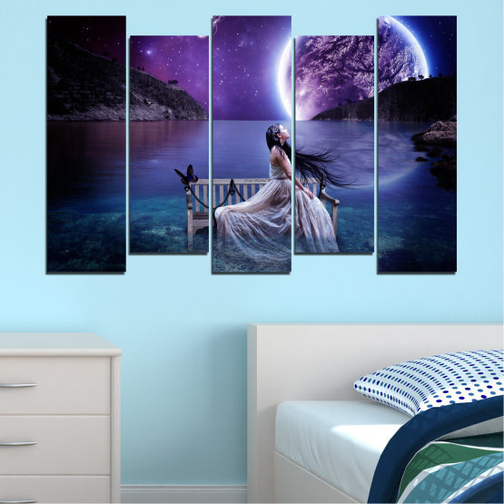 Canvas prints & wall decorative panels - 5 pieces №0297 » Purple, Blue, Black, Gray, Dark grey » Water, Woman, Night, Moon Form #3