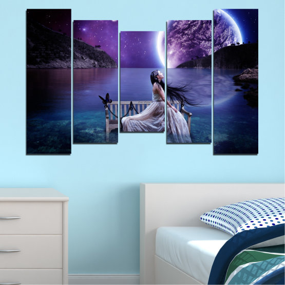 Canvas prints & wall decorative panels - 5 pieces №0297 » Purple, Blue, Black, Gray, Dark grey » Water, Woman, Night, Moon Form #4