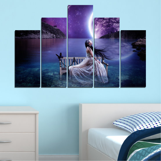 Canvas prints & wall decorative panels - 5 pieces №0297 » Purple, Blue, Black, Gray, Dark grey » Water, Woman, Night, Moon Form #5