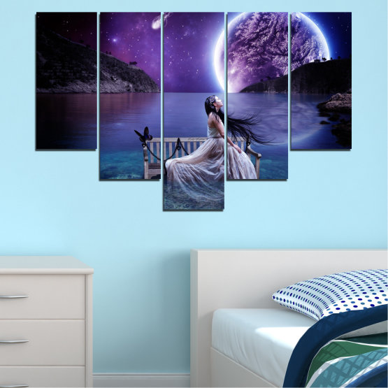 Canvas prints & wall decorative panels - 5 pieces №0297 » Purple, Blue, Black, Gray, Dark grey » Water, Woman, Night, Moon Form #6