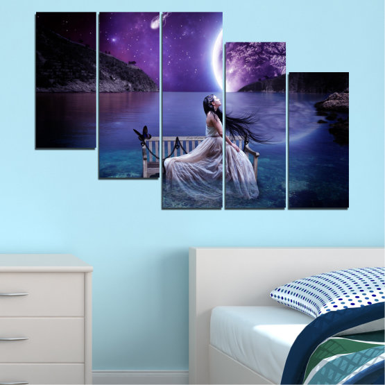 Canvas prints & wall decorative panels - 5 pieces №0297 » Purple, Blue, Black, Gray, Dark grey » Water, Woman, Night, Moon Form #7