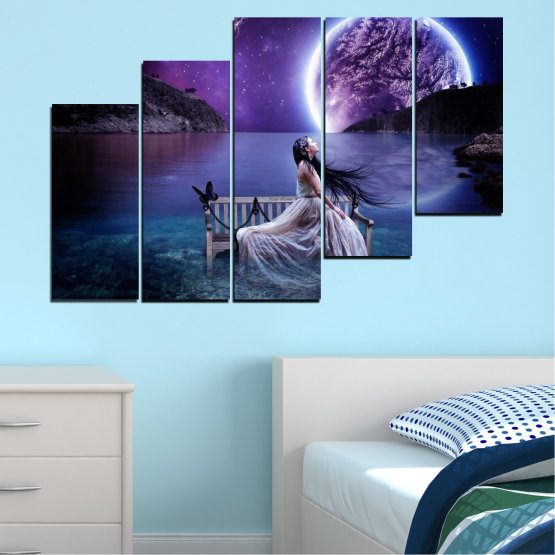 Canvas prints & wall decorative panels - 5 pieces №0297 » Purple, Blue, Black, Gray, Dark grey » Water, Woman, Night, Moon Form #8