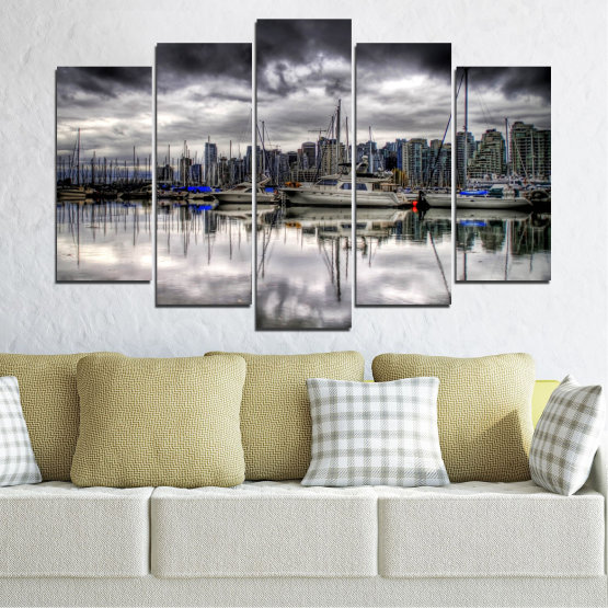 Canvas prints & wall decorative panels - 5 pieces №0298 » Black, Gray, White, Dark grey » Water, City, Reflection, Boat Form #1