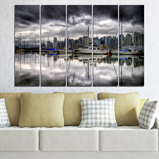Canvas prints & wall decorative panels - 5 pieces №0298 » Black, Gray, White, Dark grey » Water, City, Reflection, Boat Form #2