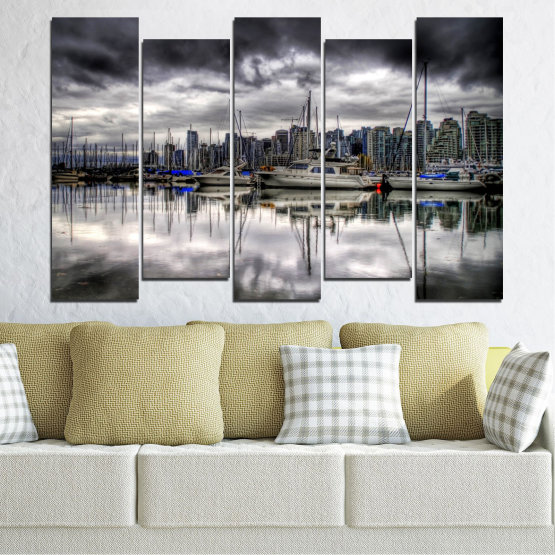 Canvas prints & wall decorative panels - 5 pieces №0298 » Black, Gray, White, Dark grey » Water, City, Reflection, Boat Form #3