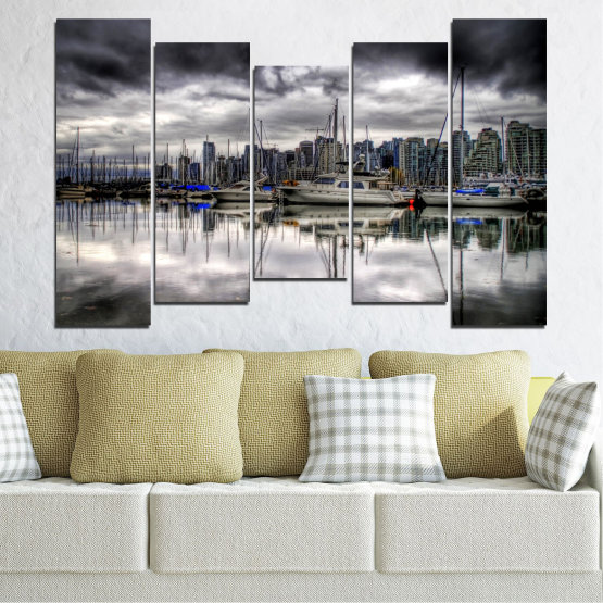 Canvas prints & wall decorative panels - 5 pieces №0298 » Black, Gray, White, Dark grey » Water, City, Reflection, Boat Form #4