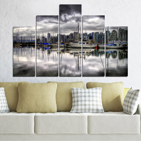Canvas prints & wall decorative panels - 5 pieces №0298 » Black, Gray, White, Dark grey » Water, City, Reflection, Boat Form #5